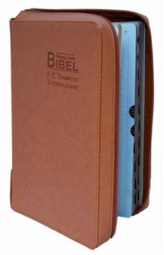 Neue Lutherbibel, F.C. Thompson Studienausgabe, Reissverschluss - Kunstleder/Ock